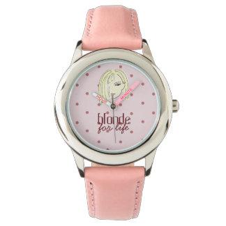 De blonde voor het Roze van het Leven stippelt Horloges