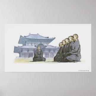 De Boeddhistische monniken die van Zen buiten Poster