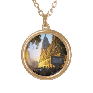 De Boeddhistische Tempel Bodh Gaya India van Goud Vergulden Ketting