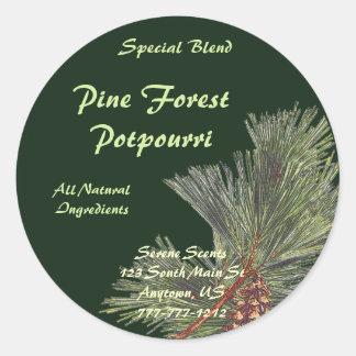 De Boeg van de pijnboom op Forest Green Ronde Sticker