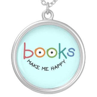 De boeken maken me Gelukkig Zilver Vergulden Ketting