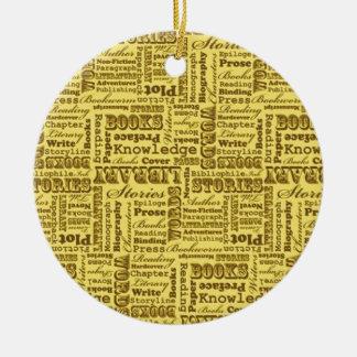 De Boeken van de Boeken van boeken! Rond Keramisch Ornament