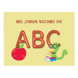 De Boekenwurm van de Brieven van het Neon van ABC Briefkaart