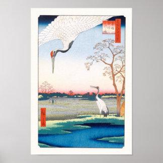 De Boete van Minowa Kanasugi Mikawashima Hiroshige Poster