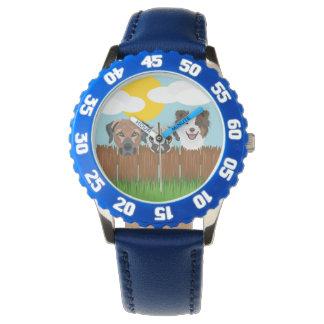 De bofkonten van de illustratie op een houten horloges
