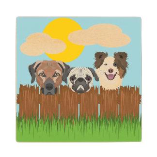 De bofkonten van de illustratie op een houten houten onderzetter
