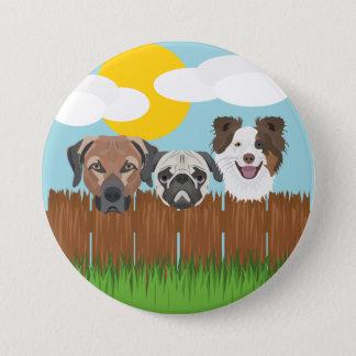 De bofkonten van de illustratie op een houten ronde button 7,6 cm