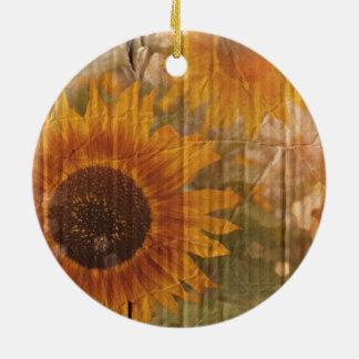 De Boheemse gele Zonnebloem van het golfKarton Rond Keramisch Ornament