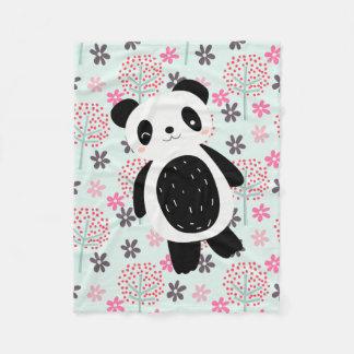 De bomen, de Bloemen, en de Panda dragen Fleece Deken