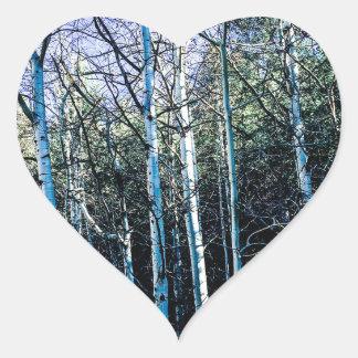 De bomen van de esp in de herfst hart sticker