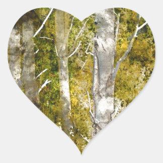 De Bomen van de esp in de herfst Hart Stickers