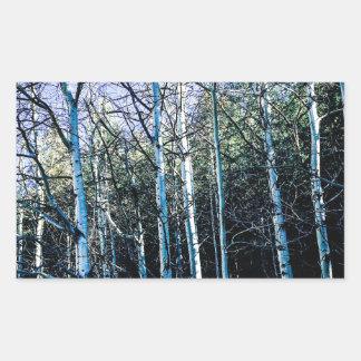 De bomen van de esp in de herfst rechthoekige sticker