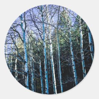 De bomen van de esp in de herfst ronde sticker
