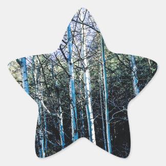 De bomen van de esp in de herfst ster sticker