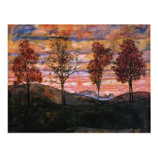 De Bomen van Egon Schiele- Vier Briefkaart