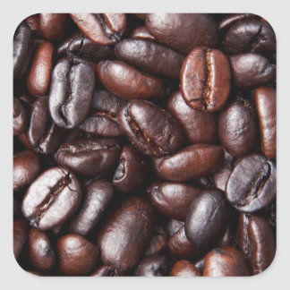 De Bonen van de koffie - gehele geroosterd licht Vierkant Stickers