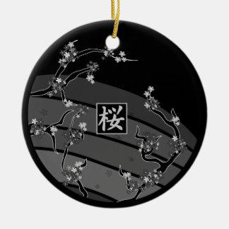 De Boom van de Bloesem van de zwarte Kers Rond Keramisch Ornament