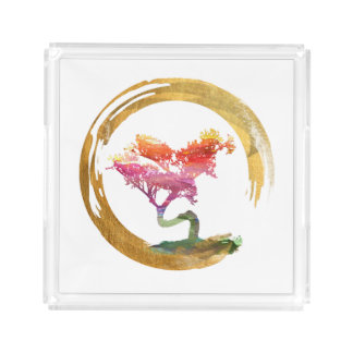De Boom van de bonsai. De Waterverf Feng Shui van Acryl Dienblad