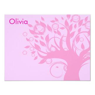 De boom van de Roze Knuppel Mitzvah van het Leven 10,8x13,9 Uitnodiging Kaart