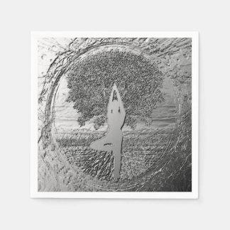 De Boom van het Chroom van de yoga van het Leven Papieren Servetten