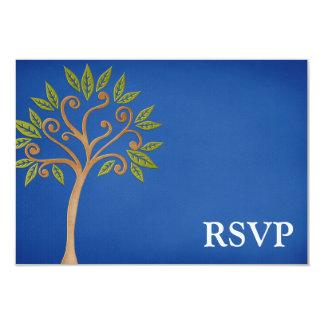 De boom van het Leven wervelt Blauwe Bar mitswa 8,9x12,7 Uitnodiging Kaart
