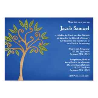 De boom van het Leven wervelt de Blauwe 12,7x17,8 Uitnodiging Kaart