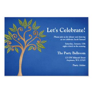 De boom van het Leven wervelt de Blauwe Ontvangst 8,9x12,7 Uitnodiging Kaart