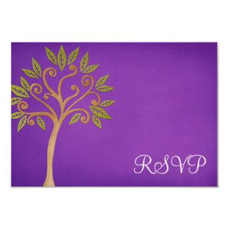 De boom van het Leven wervelt Paarse Knuppel 8,9x12,7 Uitnodiging Kaart