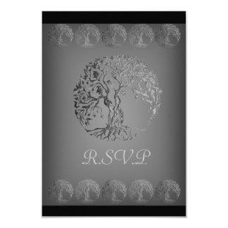 De Boom van Mehndi van het Leven (Henna) (Zilver) 8,9x12,7 Uitnodiging Kaart