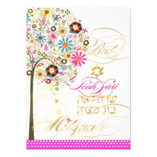 De boom van PixDezines van het leven+bloemen, 13,9x19,1 Uitnodiging Kaart
