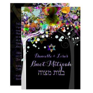 De boom van PixDezines van het leven B'not Mitzvah 12,7x17,8 Uitnodiging Kaart