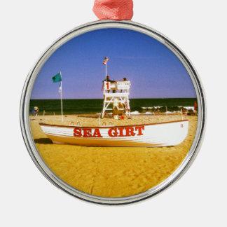 De Boot van de Badmeester van Girt van het zee Zilverkleurig Rond Ornament