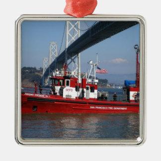 De Boot van de Brand van San Francisco Zilverkleurig Vierkant Ornament