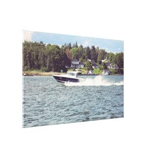 De boot van de snelheid in Stockholm Canvas Afdruk