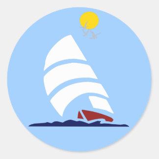 De Boot van het zeil Ronde Sticker