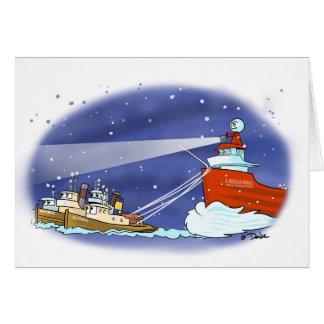 De bootkaart van de kerstman wenskaart