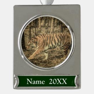 De bos Bos Majestueuze Wilde Tijger van het wild Verzilverd Banner Ornament