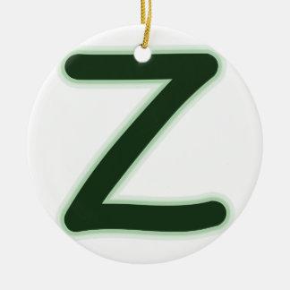 De bos groene gloed van de brief Z Rond Keramisch Ornament