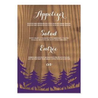 De bos Kaarten van het Menu van het Huwelijk 12,7x17,8 Uitnodiging Kaart