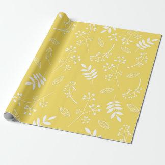 De botanische Bloemen Gele Zon van het Groen van Cadeaupapier