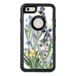 De botanische Iris bloeit het BloemenHoesje van de OtterBox Defender iPhone Hoesje