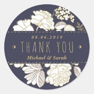 De botanische Lente bloeit Huwelijk dankt u Ronde Stickers