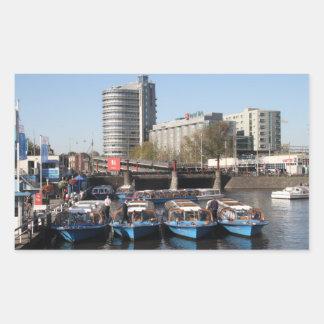 De boten van de excursie in Amsterdam Rechthoekvormige Sticker