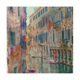 De Boten van Venetië Italië in het Grote Kanaal Hout Afdruk