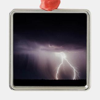 De Bout van de verlichting (Storm) Zilverkleurig Vierkant Ornament