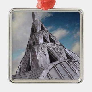 De Bouw van Chrysler Zilverkleurig Vierkant Ornament