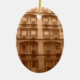 De Bouw van de Stad van New York Keramisch Ovaal Ornament