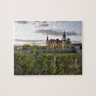 De bouw van de wijnmakerij gezien van de wijngaard legpuzzel