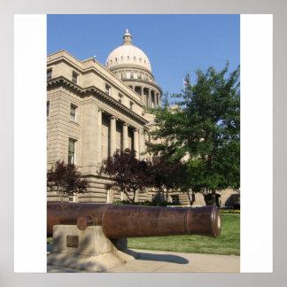 De bouw van het Capitool van Boise Poster