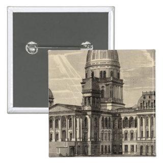De bouw van het Capitool van de staat, Ziek Spring Vierkante Button 5,1 Cm